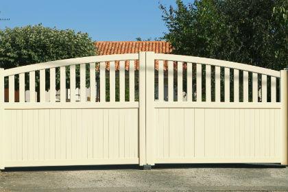 white apartment gate